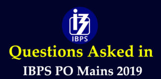 Questions Asked in IBPS PO Mains 2019
