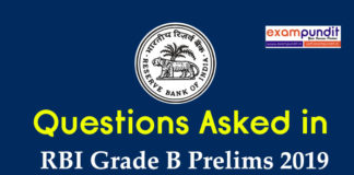Questions Asked in RBI Grade B Prelims Exam