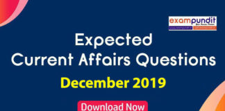 Expected Questions from December 2019 Current Affairs