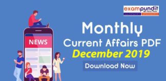 Monthly Current Affairs PDF December 2019