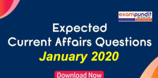 Expected Questions from January 2020 Current Affairs
