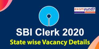 SBI Clerk 2020 Vacancy State Wise