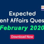 Expected Questions from February 2020 Current Affairs