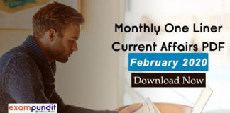 Monthly One Liner Current Affairs PDF February 2020