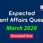 Expected Questions from March 2020 Current Affairs
