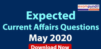 Expected Questions from May 2020 Current Affairs